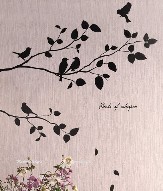 Two branches with flying birds vinyl wall for Bird and owl tree wall mural set