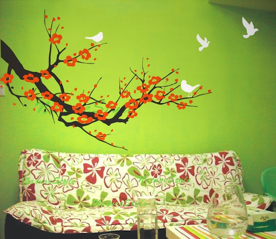 Red cherry blossom wall decals birds vinyl wall by naturestyle for Cherry tree mural