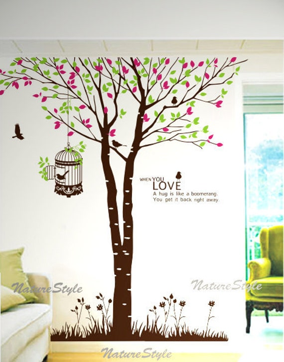 Tree with Flying Birds-Vinyl Wall Decal,Sticker,Nature Design for Nursery Room
