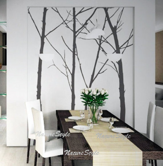 winter wall decal Wall sticker Tree wall decal nursery wall decals tree vinyl wall decals living room wall sticker -Four Winter trees