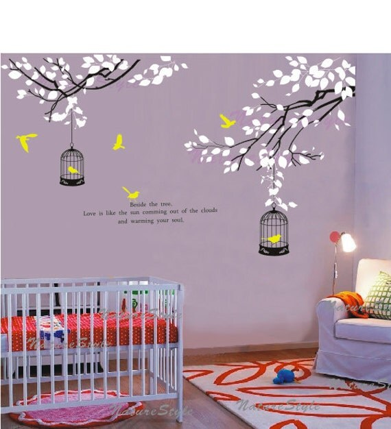 Branch with Flying Birds and birdscage -Vinyl Wall Decal,Sticker,Nature Design