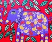 Kerri Ambrosino Art NEEDLEPOINT Mexican Folk Art Purple Elephant