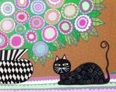 Kerri Ambrosino Original Art 16x20 Mexican Folk Art Acrylic painting Black Cat under Pink and Green Spring Roses Flowers