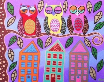 Kerri Ambrosino Mexican Folk  Art Print Guardian Owls Houses Twilight Town Country