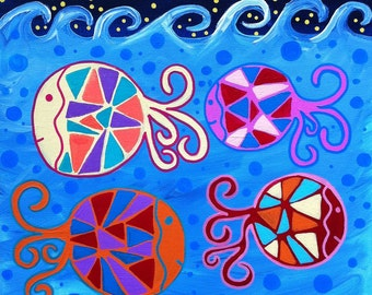 Kerri Ambrosino Mexican Folk  Art PRINT Under The Sea Fish Ocean