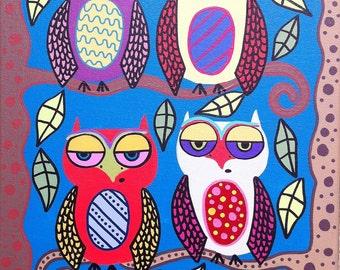 Kerri Ambrosino Mexican Folk Art PRINT Day Time Owls Happy Trees
