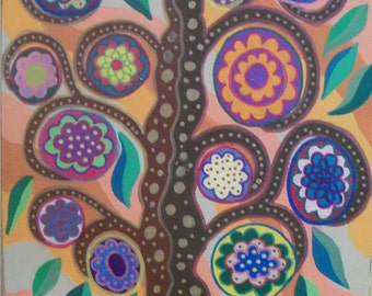Kerri Ambrosino Mexican Folk Art PRINT Melon Tree of Life Flowers