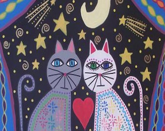 Kerri Ambrosino Mexican Folk Art PRINT Moonstruck Cats moon shooting stars love