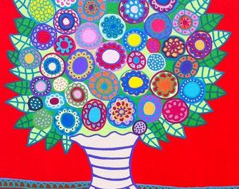 Kerri Ambrosino Mexican Folk Art PRINT Red  Flowers Leaves Vase