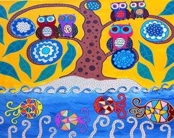 Kerri Ambrosino Art PRINT Mexican Folk Art  Owl Island and Fish Coral Flowers