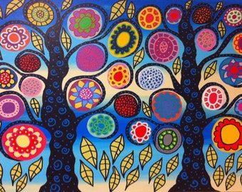 Kerri Ambrosino Mexican Folk  Art PRINT Bright Ocean  Mexican folk art Flower Tree of Life