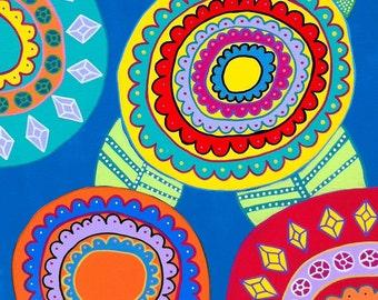 Ambrosino Art NEEDLEPOINT Mexican Folk Art  Pop Art Flowers