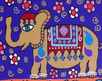 Kerri Ambrosino Art NEEDLEPOINT Mexican Folk Art  Elephant night Flowers Spiritual