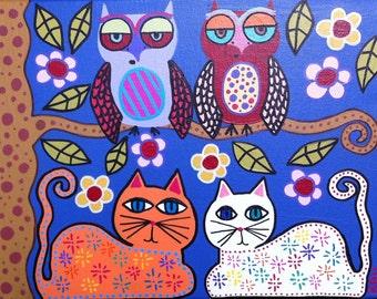 Kerri Ambrosino Art NEEDLEPOINT Mexican Folk Art  Cats Owls and flowers by a Tree