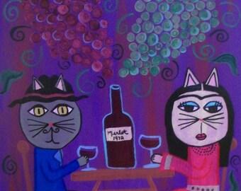 Kerri Ambrosino Art NEEDLEPOINT Mexican Folk Art  Cats Frida and Diego Wine Merlot