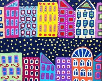Kerri Ambrosino Art NEEDLEPOINT Mexican Folk Art Brooklyn NYC Night Skyline Stars Buildings