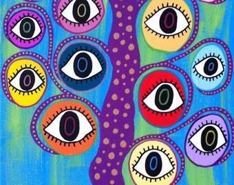 Kerri Ambrosino Art NEEDLEPOINT Mexican Folk Art  Evil Eye Tree Hamsa Judaica Aqua Blue