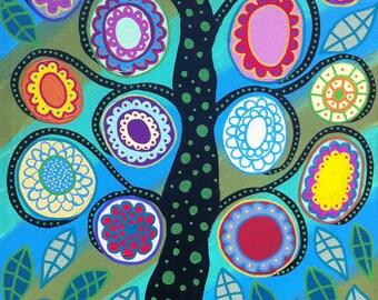 Ambrosino Art NEEDLEPOINT Mexican Folk Art  Aqua Tree of Life Flowers