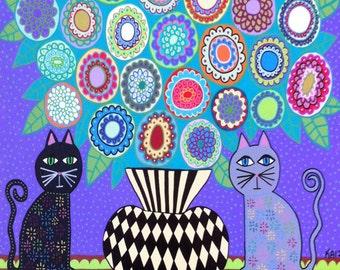 Ambrosino Art NEEDLEPOINT Mexican Folk Art  Black Cat Flowers Lavander Vase