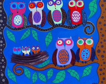 Kerri Ambrosino Art NEEDLEPOINT Mexican Folk Art  Owls in the trees with babies in a nest