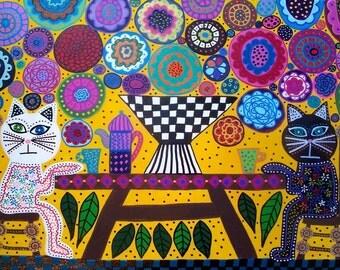 Kerri Ambrosino Art NEEDLEPOINT Mexican Folk Art Cat Tea Party in The Garden
