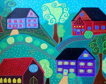 Kerri Ambrosino Art NEEDLEPOINT Mexican Folk Art Saltbox Houses Trees Church