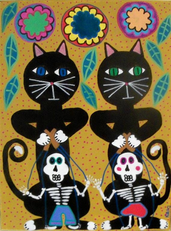 Kerri Ambrosino Art PRINT Mexican Folk Art Black Cats and Dancing Marionettes