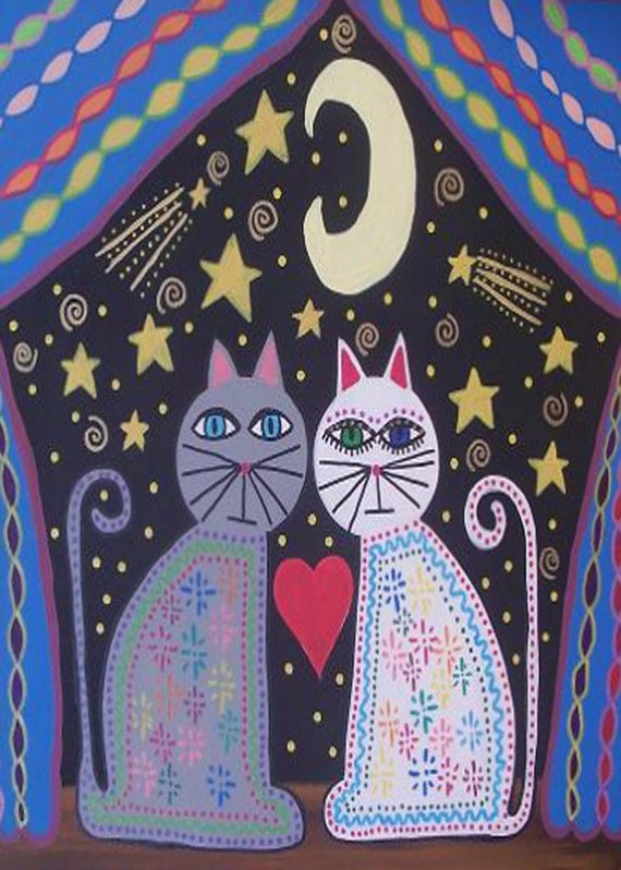 Kerri Ambrosino Mexican Folk Art PRINT Moonstruck Cats moon shooting stars love