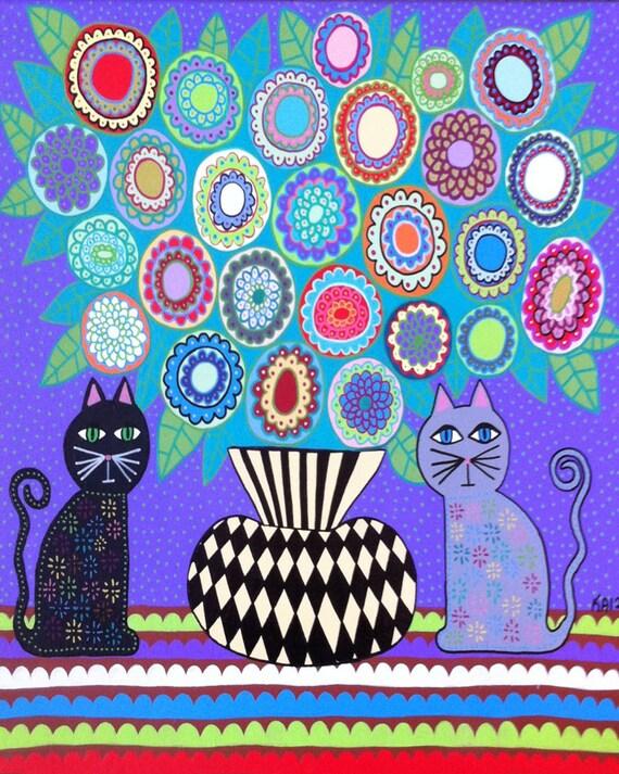 Kerri Ambrosino Mexican Folk Art PRINT Vase Lavender  Cats Flowers Leaves