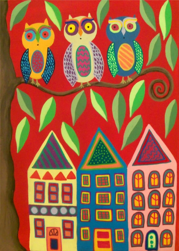 Ambrosino Mexican Folk Art PRINT Happy Owl Town  houses trees landscape