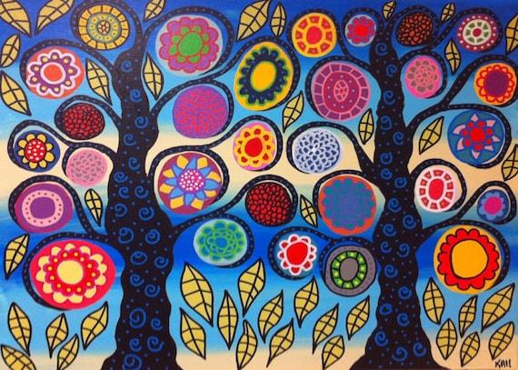 Kerri Ambrosino Mexican Folk  Art PRINT Bright Ocean  Mexican folk art Flower Tree of Life