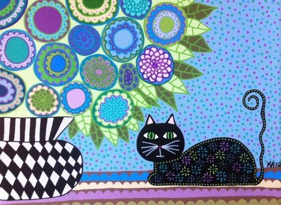 Kerri Ambrosino Art PRINT Mexican Folk Art  Black Cat under Blue Violets