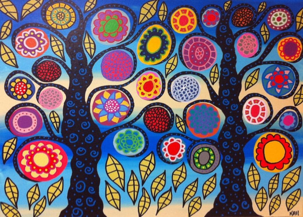 Kerri Ambrosino Mexican Folk Art PRINT Bright Ocean