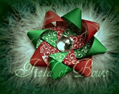 Christmas Clearance Loopy Flower Bow : Red and green damask flower with white marabou and rhinestone center