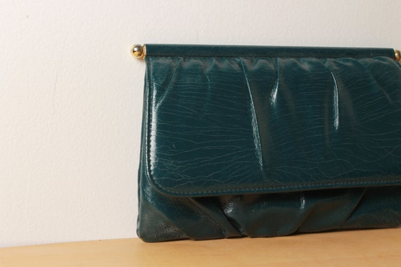 Green Leather Clutch - Gold Hardware - 1960s