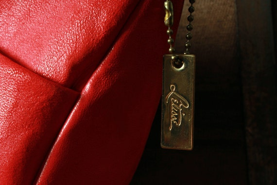 Red Leather Purse - by Letisse - 1980s