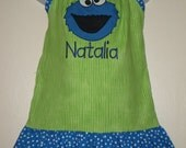 Custom Boutique Personalized Cookie Monster Pillowcase Dress Birthday GIRL