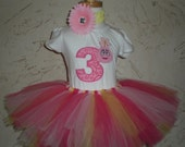 Custom Boutique Personalized Pink Monster Number applique top Tutu and Hair Bow Birthday