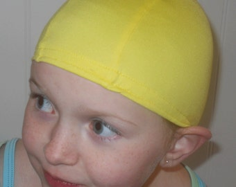 Lycra SWiM CaP - LEMON YELLOW - Sizes - Baby , Child , Adult , XL - Made from Spandex / Swimsuit Swimming Fabric -by Froggie's Swim Caps