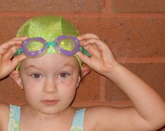 Lycra SWiM CaP - LIME GREEN SPARKLE - Sizes - Baby , Child , Adult , Xl - Made from Spandex / Swimsuit Swimming Fabric - Froggie's Swim Caps