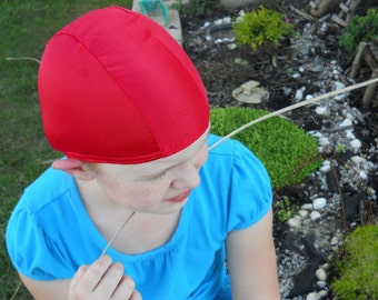 Lycra SWiM CaP - RED - Sizes - Baby , Child , Adult , XL - Made from Spandex / Swimsuit Swimming Fabric -by Froggie's Swim Caps