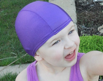 Lycra SWiM CaP - PURPLE - Sizes - Baby , Child , Adult , XL - Made from Spandex / Swimsuit Swimming Fabric -by Froggie's Swim Caps
