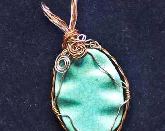 Wire Wrapped Turquoise Pendant