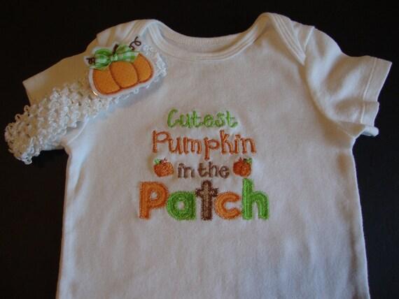 Girls Applique Pumpkin Bodysuit Onesie Halloween Cutest Pumpkin Baby Bodysuit Set Pumpkin Headband with Clippie Barrett