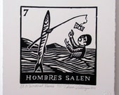 Relief Print, Hombres Salen, men go out, fishing for money, world upside down, role reversal, animal rights