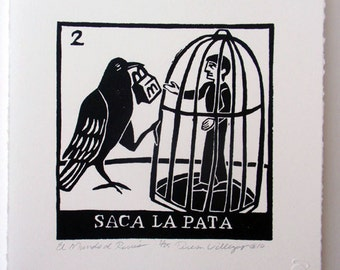 Relief Print, Saca La Pata, put out your paw, world upside down, animal rights lover, role reversal