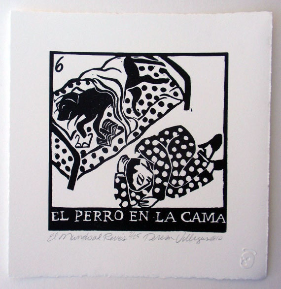 Relief Print, El Perro En La Cama, dog in bed, world upside down, animal rights lover, hand pulled