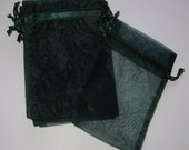 Set of 10 Hunter Green Organza Bags (4x6)