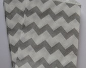 "Set of 10 Gray and White Chevron Bitty Bags (2.75"" x 4"")"