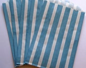 """SALE - Set of 10 Aqua and White Vertical Stripe Design Middy Bitty Bags (5"""" x 7.5"""")"""
